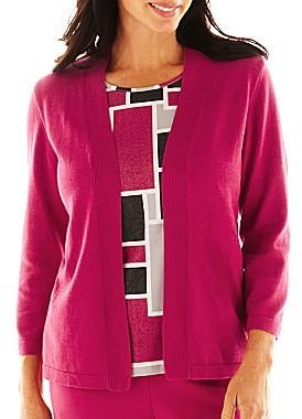 Alfred Dunner Avenue Louise Geometric Layered Sweater