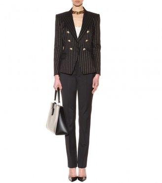 Balmain Metallic-pinstriped cotton blazer