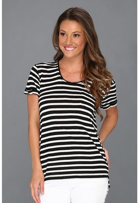 Vince Camuto TWO by S/S Stripe Tee w/ Pocket (Rich Black) - Apparel