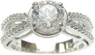Judith Ripka Sterling Diamonique Round Split Shank Ring