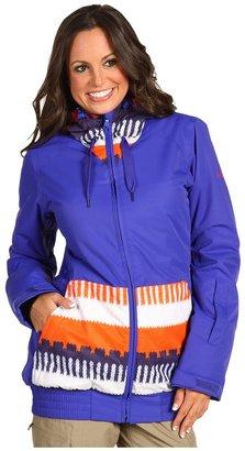 Roxy Valley 8K Insulated Hoodie Jacket (Peru Jacquard/Moody Blue) - Apparel