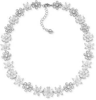 Carolee Necklace, Silver-Tone Crystal Flower Collar Necklace