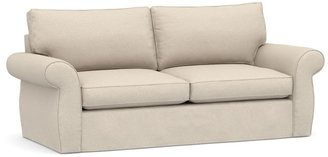 Pottery Barn Pearce Roll Arm Slipcovered Sleeper Sofa with Memory Foam Mattress