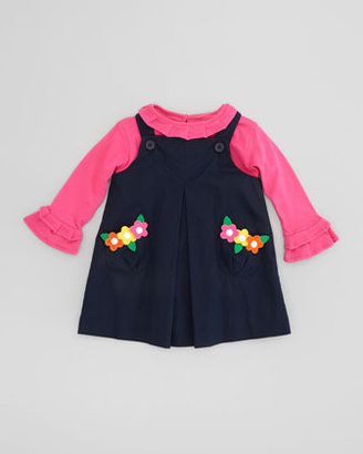 Florence Eiseman Dress with Flower Appliques, Navy Blue