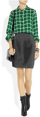 J.W.Anderson Laser-cut grid-patterned faux-suede skirt