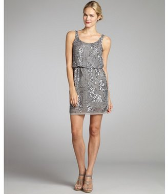 Romeo & Juliet Couture light grey chiffon sequin and bead front tank dress