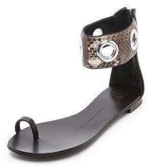 Giuseppe Zanotti Flat Python Sandals
