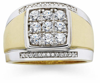 FINE JEWELRY Mens 14K Gold-Plated Silver Cubic Zirconia Ring