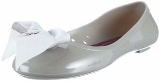 Colors of California Women's Jelly Ballerina with solid color ribbon Ballet Flats,36 EU