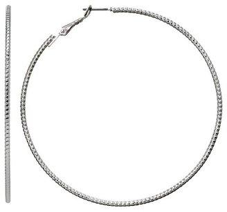 Women's Large Ribbed Hoop Earrings - Silver