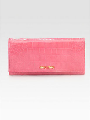 Miu Miu St. Coco Lux Crocodile Embossed Leather Continental Wallet