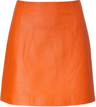 Raoul Pumpkin Leather Miniskirt