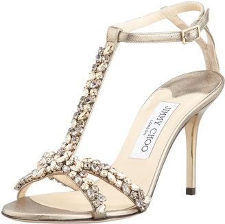 Jimmy Choo Tarot Crystal-Metallic Strap Sandals