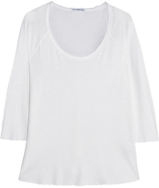 James Perse Inside Out slub linen and cotton-blend top