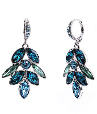 Givenchy Aqua and Light Sapphire Tone Crystal Cluster Drop Earrings