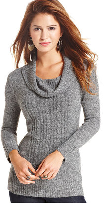Amy Byer BCX Sweater, Long Sleeve Cowl-Neck Cable-Knit