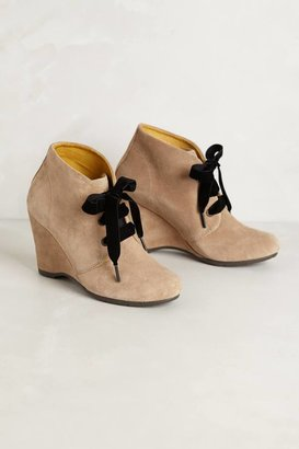 Anthropologie Velvet Laced Booties