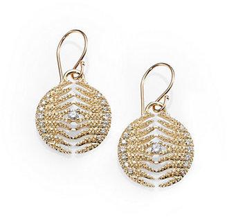 Mizuki Diamond & 14K Yellow Gold Feather Medallion Earrings
