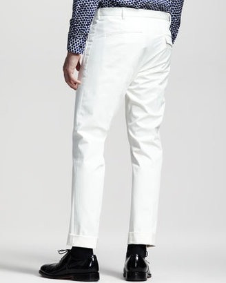 Jil Sander Slim Cotton Pants, White