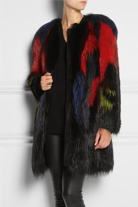 Roberto Cavalli Dyed fox and raccoon coat