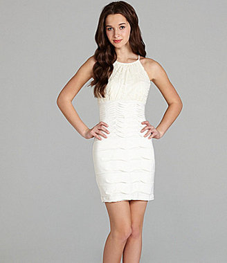 B. Darlin Halter Lace Pintuck Dress