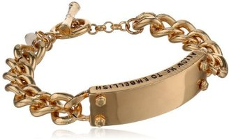 "Kenneth Cole New York ""Bracelet Item"" Gold Message Toggle Identification Bracelet, 7"""