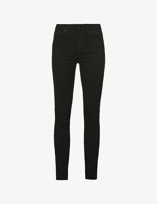 Paige Denim Women's Black Shadow Checked Margot Ultra-Skinny High-Rise Jeans, Size: 23