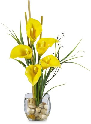 CALLA Nearly Natural Silk Lilly Liquid Illusion Arrangement in Yellow