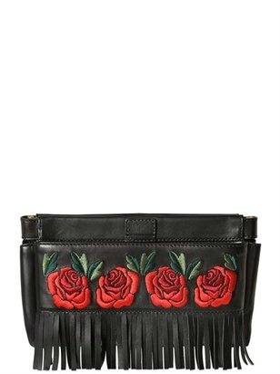 Moschino Lillie Roses Embroidery Leather Clutch