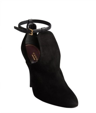 Gucci black suede t-strap cutout booties