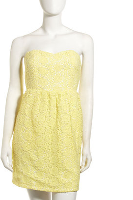 Julie Brown JB by Shawn Lace Strapless Dress,Yellow/White