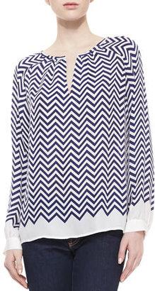 Joie Agnella Zigzag-Print Silk Long-Sleeve Blouse