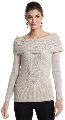 White House Black Market Off-the-Shoulder Cable Sparkle Sweater