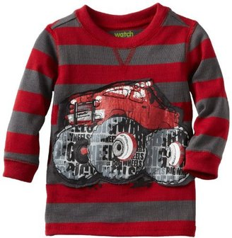 Sesame Street Watch Me Grow Baby-boys Infant Striped Monster Truck Thermal Pullover