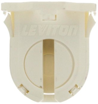 Leviton 660W Low Profile Small Bi-Pin Lamp Center for T-8 Lamps Snap-In Lamp-Lock Linear Fluorescent Lampholder, White