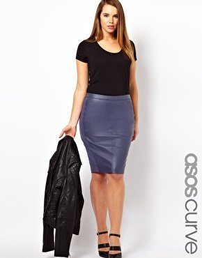 Asos Exclusive Leather Pencil Skirt with Jersey Trim - Gray