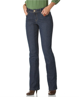 Style&Co. Petite Jeans, Embroidered Pocket Straight Leg, Ocean Wash