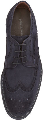 Bergdorf Goodman Suede Wing-Tip Lace-Up, Blue
