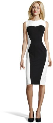 ABS by Allen Schwartz Black And Ivory Stretch Colorblock Sleeveless Pocket Dress