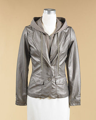 Newport News Faux Leather Blazer With Removable Hoodie