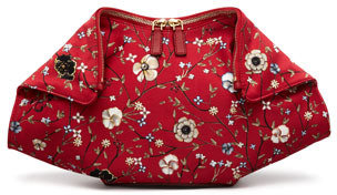 Alexander McQueen De-Manta Floral-Print Clutch Bag, Red