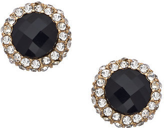 Blu Bijoux Onyx Crystal Button Stud Earrings