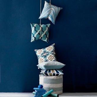 west elm Chain Crewel Pillow Cover - Dusty Blue