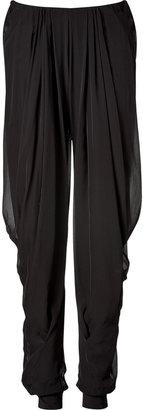Donna Karan Black draped pants with jersey cuff