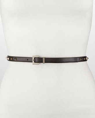 Valentino Rockstud Vitello Leather Belt, Black