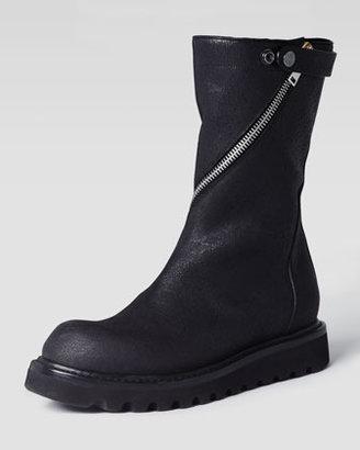 Rick Owens Zip-Around Flat Motorcycle Boot, Black