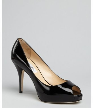 Jimmy Choo black patent leather 'Atom' peep toe platform pumps