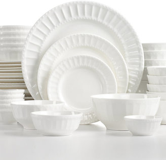 Gibson White Elements Paloma Embossed 42-Piece Set, Service for 6