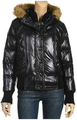DKNY Jeans Faux-Fur Trim Puffer Coat (Black)