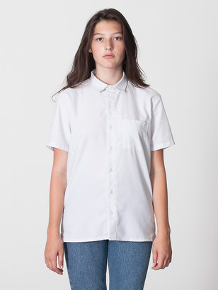 American Apparel Unisex Italian Cotton Short Sleeve Button-Up with Pocket